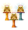 three statues of owls with books on pedestals vector image vector image