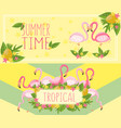 tropical summer time horizontal banners design vector image vector image