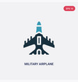 two color military airplane icon from vector image