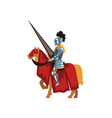 valorous knight riding horse with lance in hand vector image vector image