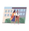 young couple in casual clothes walking together vector image vector image