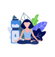 young woman doing sports sitting in lotus pose and vector image