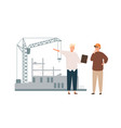 architect and foreman on construction site vector image