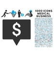 Bank Map Pointer Icon with 1000 Medical Business vector image vector image