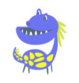 Blue and yellow funny dinosaur prehistoric animal