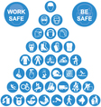 Blue Pyramid Health and Safety Icon collection vector image vector image