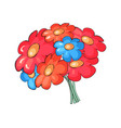 bouquet of colorful flowers pink and blue vector image vector image