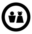boy and girl black icon in circle vector image vector image