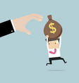 businessman runs away boss hands to steal money vector image vector image
