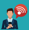 businessman using smartphones apps vector image vector image