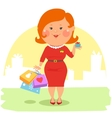 Cartoon people - Couple with shopping bags vector image vector image