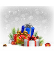 christmas with gifts fir on snow vector image vector image