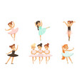 cute ballerinas dancing in tutu dress set little vector image vector image