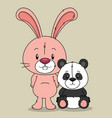cute bear panda and rabbit characters vector image vector image