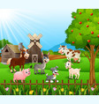 farm background with happy animals vector image vector image