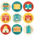 Flat colorful sity buildings set Icon background vector image vector image