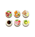 flat set of food and drink icons plates vector image vector image