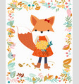 fox girl in pastel flower and leave frame border vector image