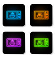 glowing neon microwave oven icon isolated on vector image vector image