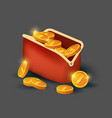 golden coins in leather purse icon vector image vector image