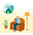 grandfather is sitting at home on couch vector image