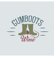 gumboots wine retro design negative space concept vector image