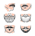 Hand drawn beards hipster mustache vector image vector image