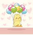 happy easter card with bachick in balloons vector image vector image
