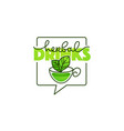 herbal drinks line art logo with handrawn vector image vector image