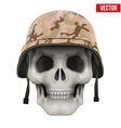 Human skull with Military helmet vector image vector image