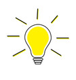 idea light bulb line icon shining effect yellow vector image