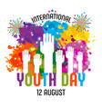 international youth day12 august hand drawn vector image