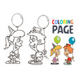 kids party with balloon cartoon coloring page vector image