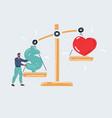love vs money man makes a vector image vector image