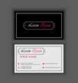luxury vintage business card template with red vector image