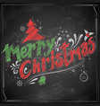 merry christmas chalk lettering design set vector image