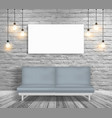 mock up sofa and lighting in white brick wall vector image
