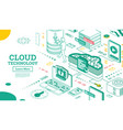 outline isometric cloud technology networking vector image vector image