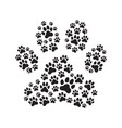 paw print filled with prints vector image vector image