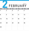 planning calendar February 2016 vector image vector image