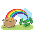 pot with coins rainbow and shamrock vector image vector image