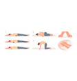 roller exercise flat set vector image