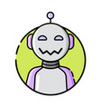 round robot icon line style on white background vector image vector image