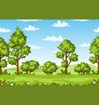 rual summer landscape with trees and flowers vector image vector image