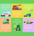 set of worker equipment engineering and transport vector image vector image