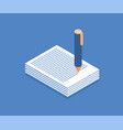stack of papers and pen icon vector image vector image