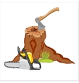 Stump and tools vector image vector image