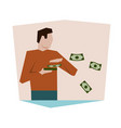 successful businessman throwing money happy woman vector image