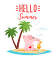 summer cute pink pig vector image