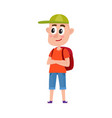 teenage boy tourist with backpack wearing shorts vector image vector image